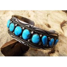 HUGE 1970's Navajo Sterling Silver & Turquoise Bracelet